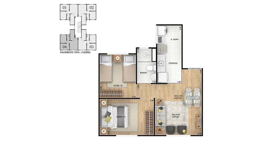 Planta de apartamento em Residencial Campo de Aviação Condomínio Santos Dumont | Paulista | PE | planta 1 | tenda.com