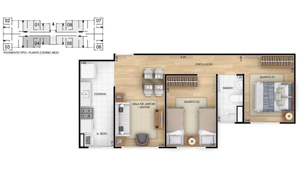 Planta baixa do Residencial Recanto do Sol Apartamento Minha Casa Minha Vida | Tenda.com