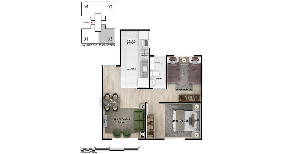 Planta de apartamento em Pátio do Sol | Rio de Janeiro | RJ | planta 1 | tenda.com