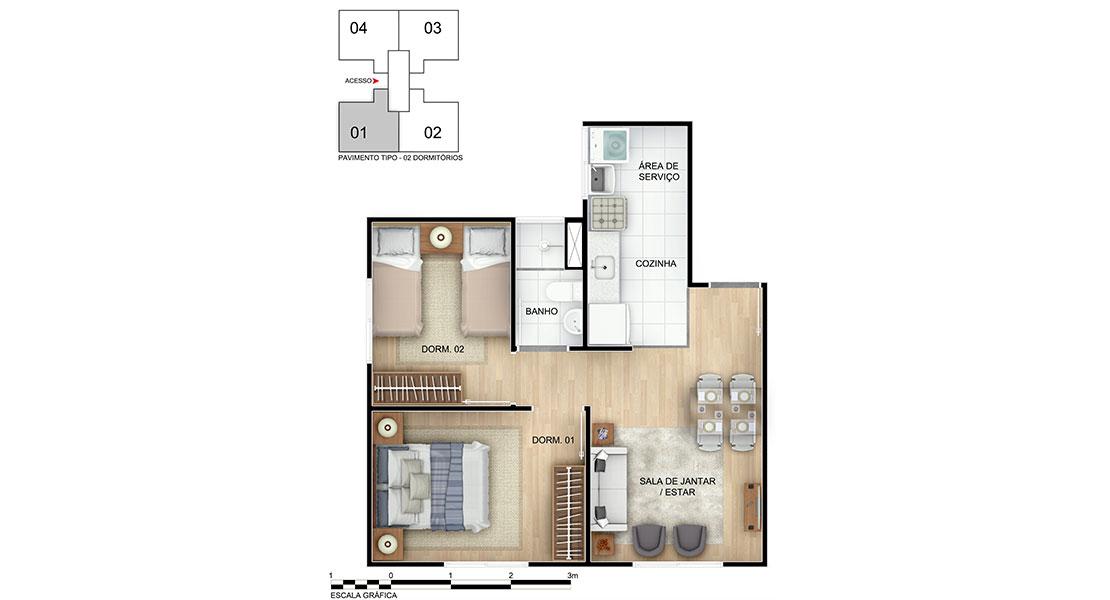 Planta baixa do Esplendor II Apartamento Minha Casa Minha Vida | Tenda.com