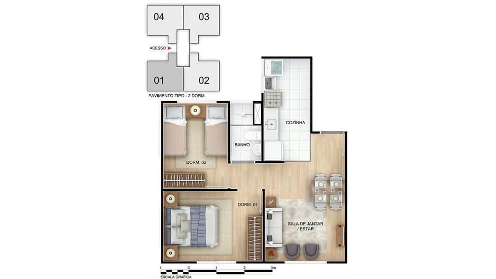 Planta de apartamento em Esplendor | Rio de Janeiro | RJ | planta 1 | tenda.com