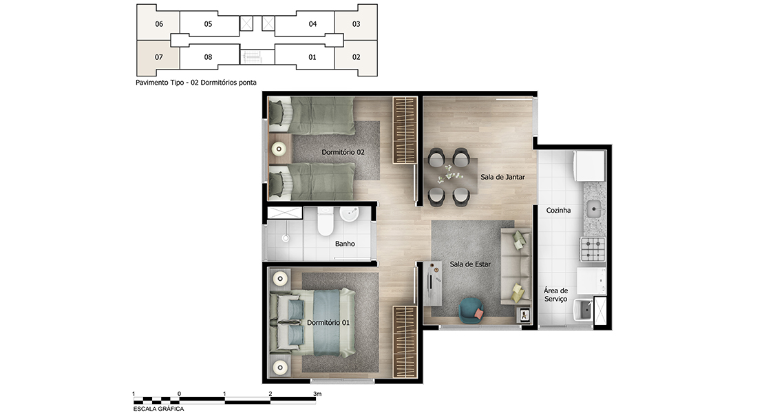 Planta baixa do Hortência Apartamento Minha Casa Minha Vida | Tenda.com