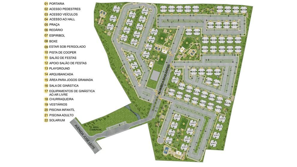 Planta de apartamento em Residencial Gran Ville das Artes | Lauro de Freitas | BA | planta 1 | tenda.com
