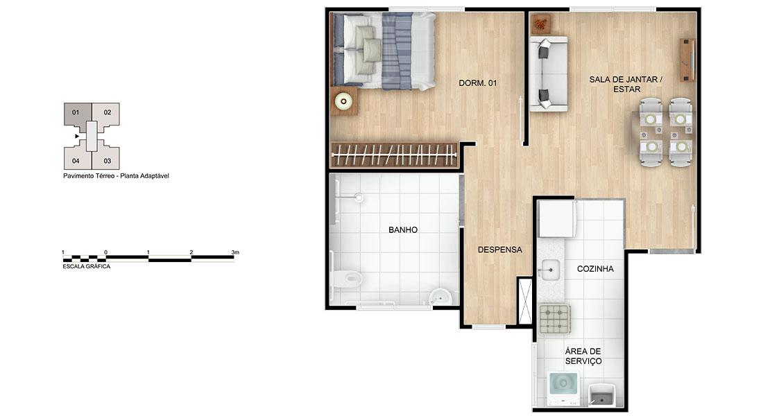 Planta baixa do Campo de Pouso Concorde Apartamento Minha Casa Minha Vida | Tenda.com