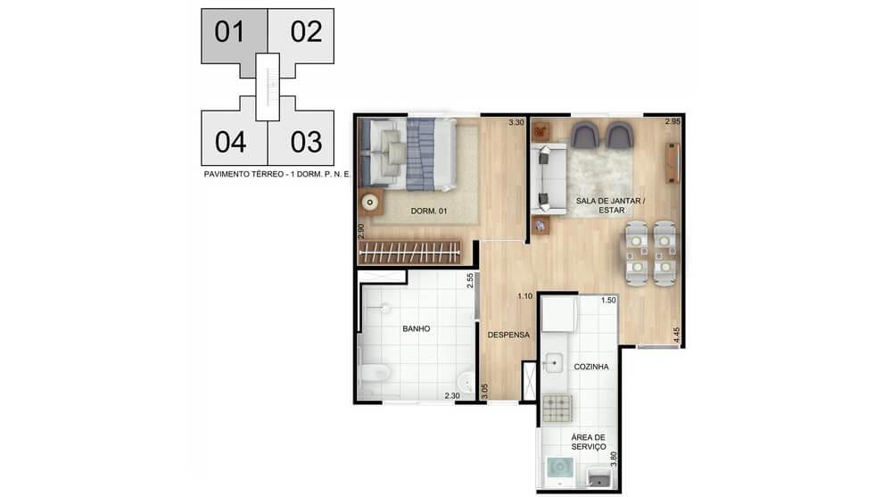 Planta baixa do Residencial Gênova Apartamento Minha Casa Minha Vida | Tenda.com