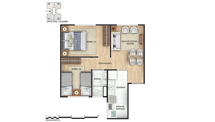 Planta baixa do Chácara das Parreiras II Apartamento Minha Casa Minha Vida   Tenda.com