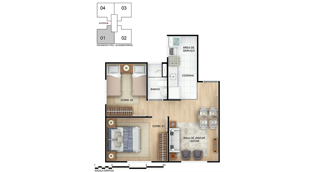 Planta baixa do Jardim dos Ipês III Apartamento Minha Casa Minha Vida | Tenda.com