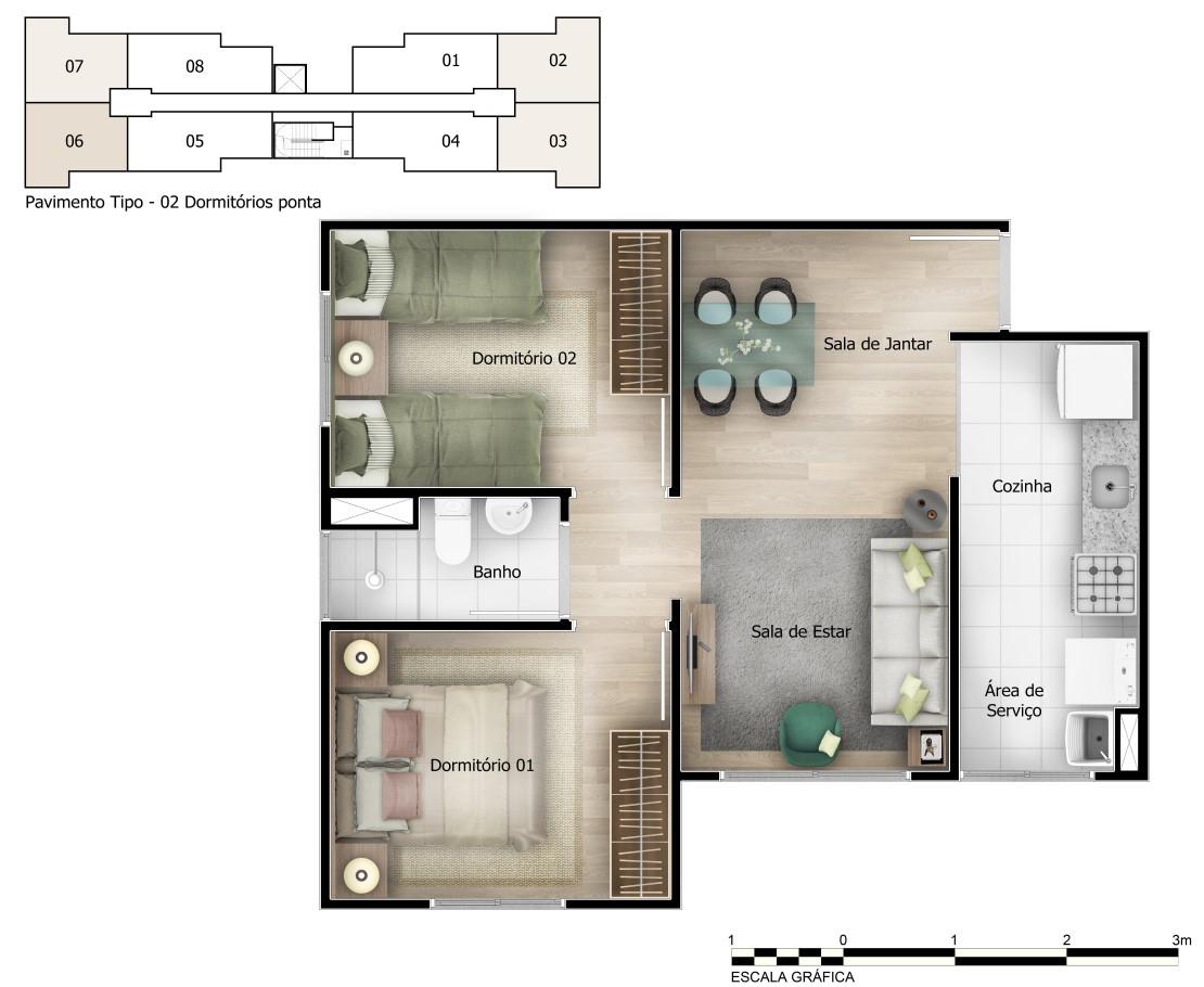 Planta baixa do Reserva Piatã Apartamento Minha Casa Minha Vida | Tenda.com