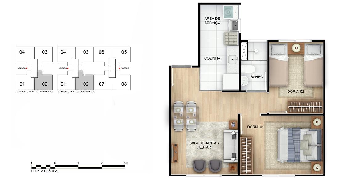Planta de apartamento em Estação Guanabara | Rio de Janeiro | RJ | planta 1 | tenda.com