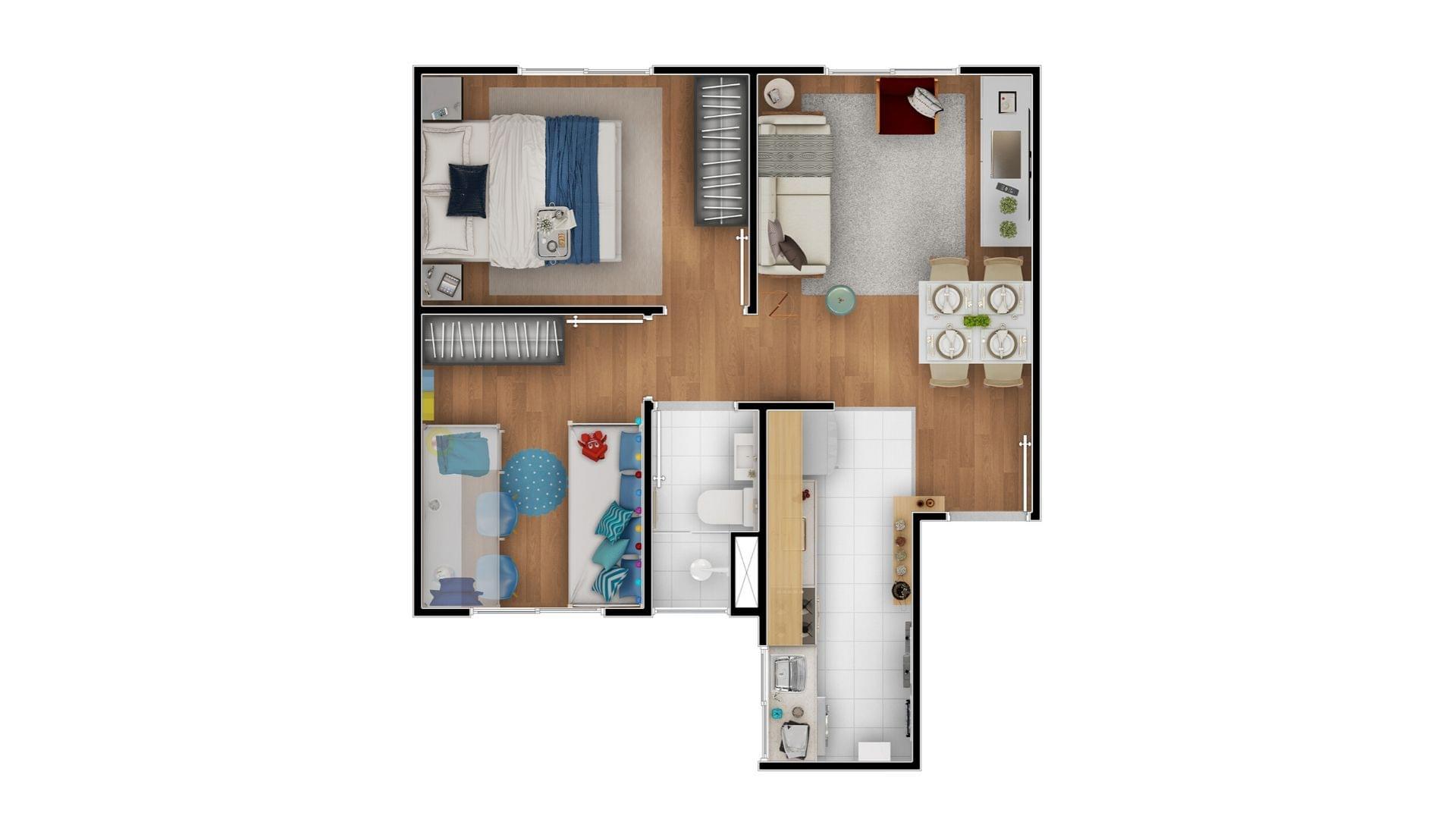 Planta de apartamento em Residencial Terra Brasilis - Praia de Itacimirim | Camaçari | BA | planta 1 | tenda.com