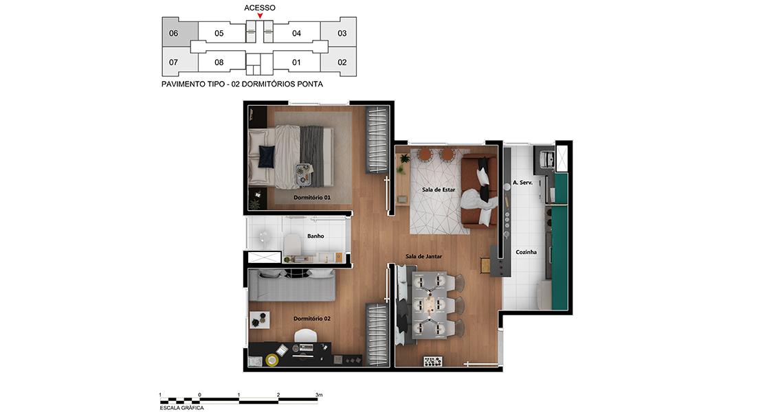 Planta baixa do Allegro Campo Limpo Apartamento Minha Casa Minha Vida | Tenda.com