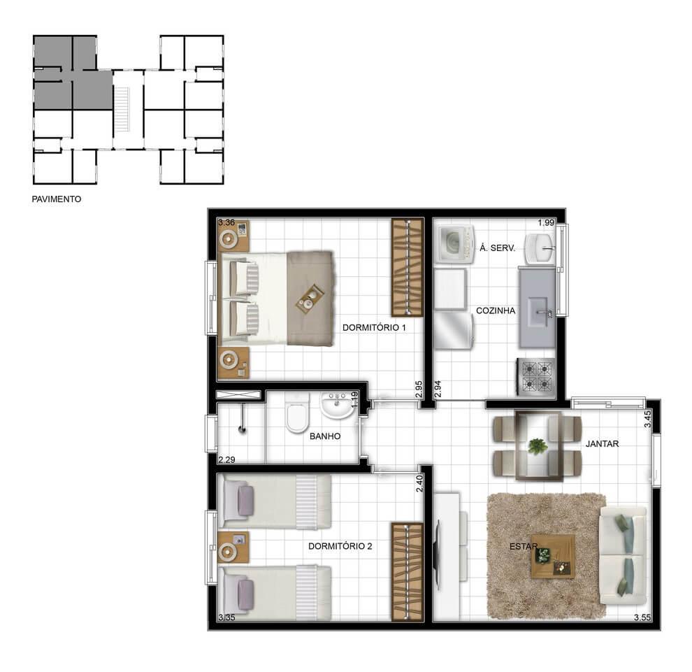 Planta baixa do Residencial Firenze Life Apartamento Minha Casa Minha Vida   Tenda.com