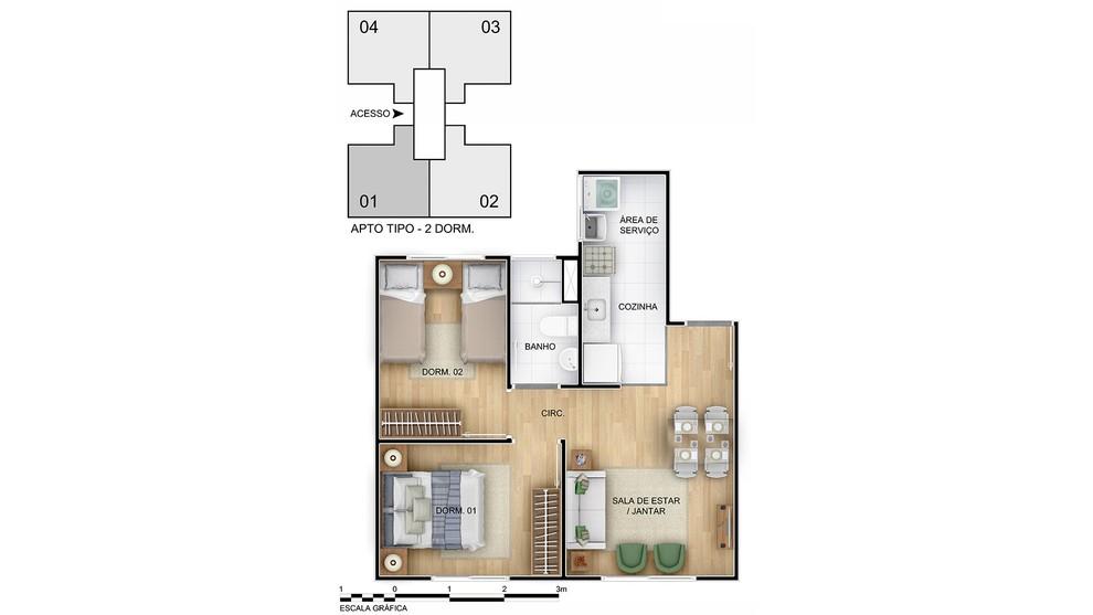 Planta de apartamento em Morada do Vale | Cachoeirinha | RS | planta 1 | tenda.com