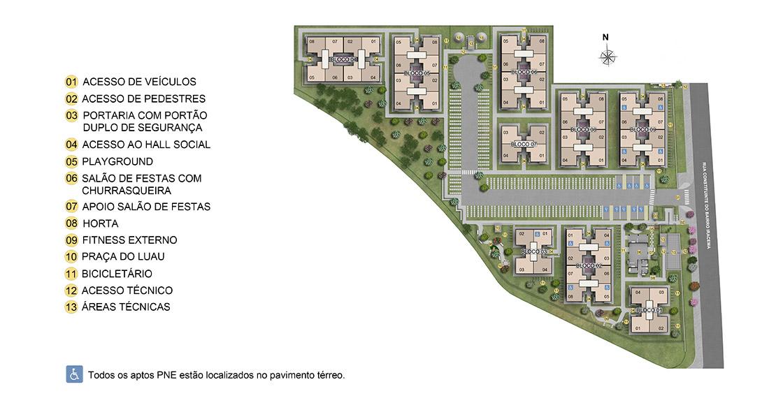 Planta baixa do Solar do Oeste II Apartamento Minha Casa Minha Vida | Tenda.com