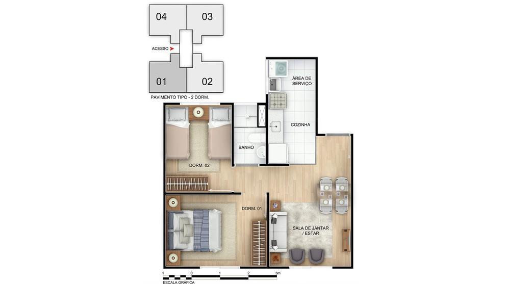 Planta baixa do Jardim dos Ipês II Apartamento Minha Casa Minha Vida | Tenda.com