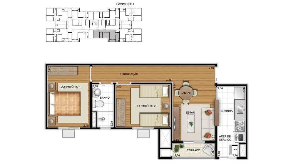 Planta baixa do Fit Giardino Apartamento Minha Casa Minha Vida | Tenda.com
