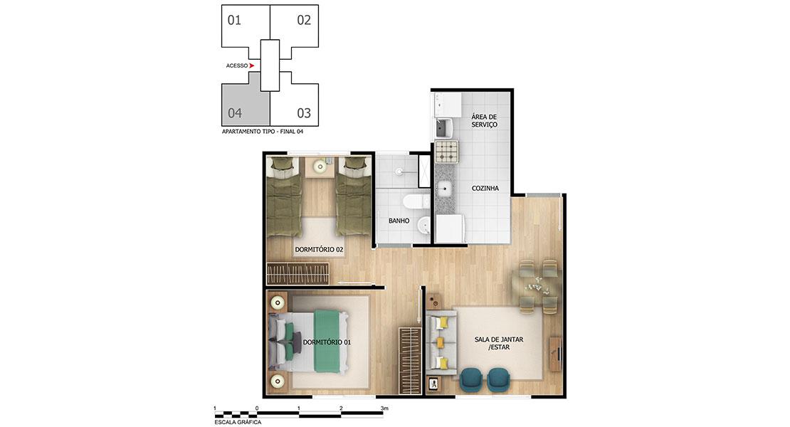 Planta baixa do Vila Pitaguary Apartamento Minha Casa Minha Vida | Tenda.com