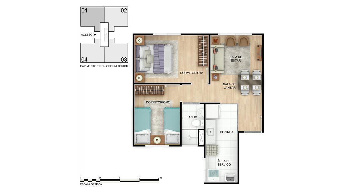 Planta baixa do Vista Tropical Apartamento Minha Casa Minha Vida | Tenda.com