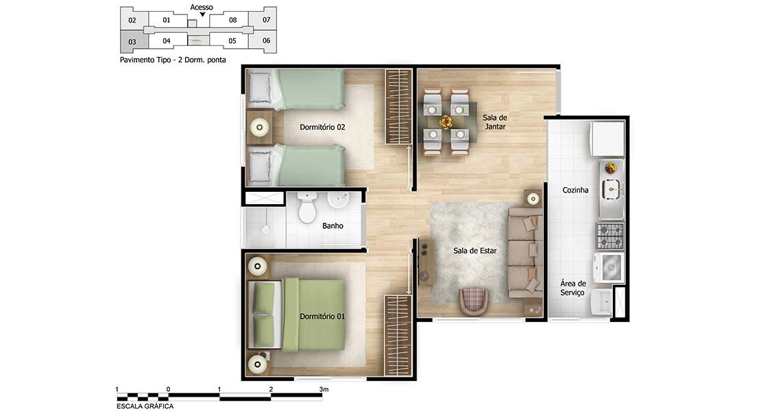 Planta baixa do Alameda Freguesia Apartamento Minha Casa Minha Vida | Tenda.com