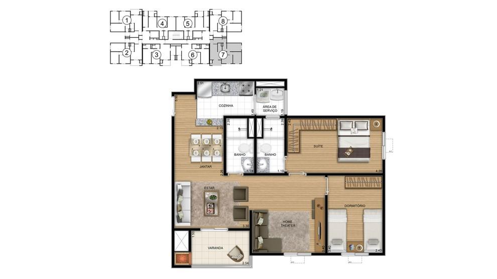 Planta baixa do Parque Arvoredo Residencial Clube Apartamento Minha Casa Minha Vida | Tenda.com