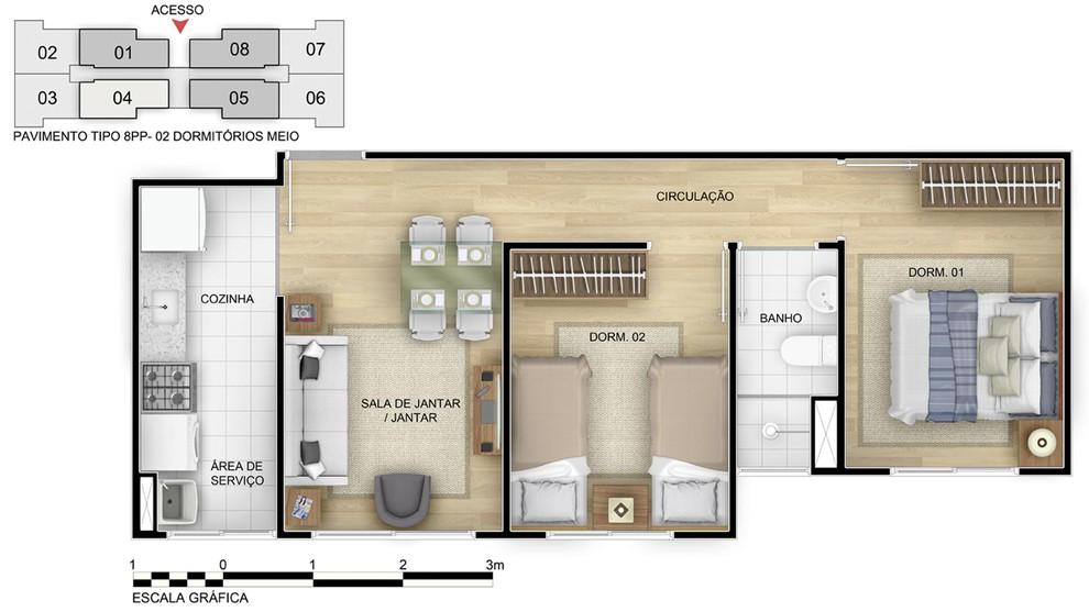Planta de apartamento em Residencial Reserva das Árvores IV | Rio de Janeiro | RJ | planta 1 | tenda.com