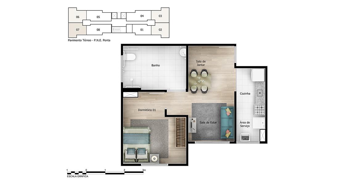 Planta de apartamento em Reserva Tarumã | Guarulhos | SP | planta 1 | tenda.com