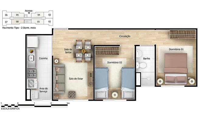 Planta baixa do Tamareiras Apartamento Minha Casa Minha Vida | Tenda.com