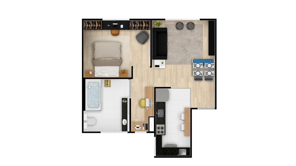 Planta de apartamento em Residencial Vila Florida | VESPASIANO | MG | planta 1 | tenda.com