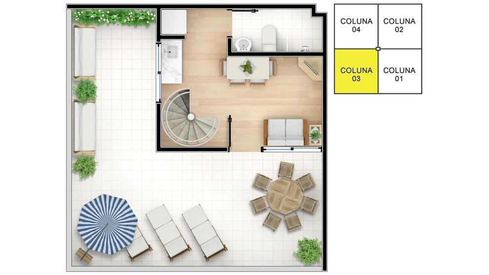 Planta baixa do Residencial Parque Baviera Life Apartamento Minha Casa Minha Vida | Tenda.com