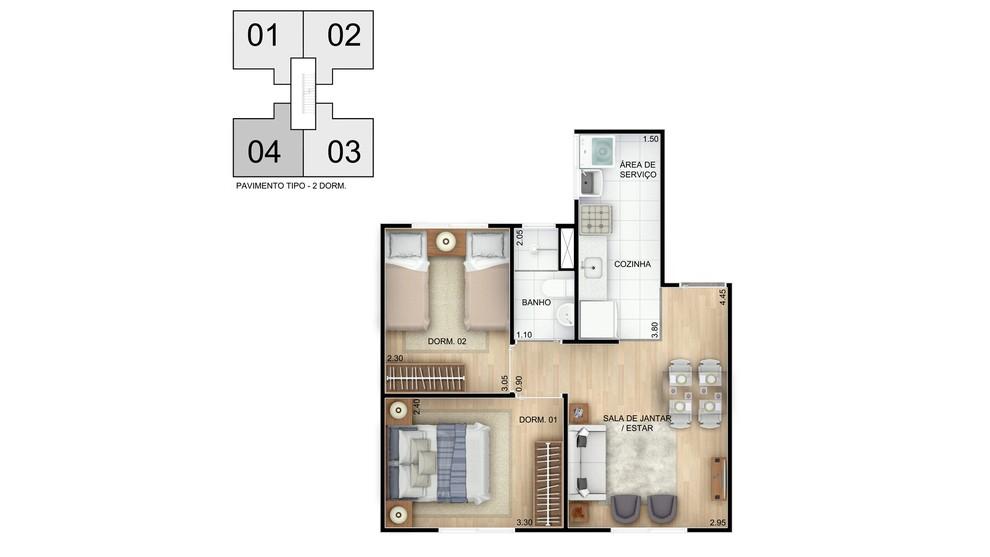 Planta de apartamento em Residencial Terra Brasilis - Condomínio Praia de Interlagos | Distrito Sede | BA | planta 1 | tenda.com