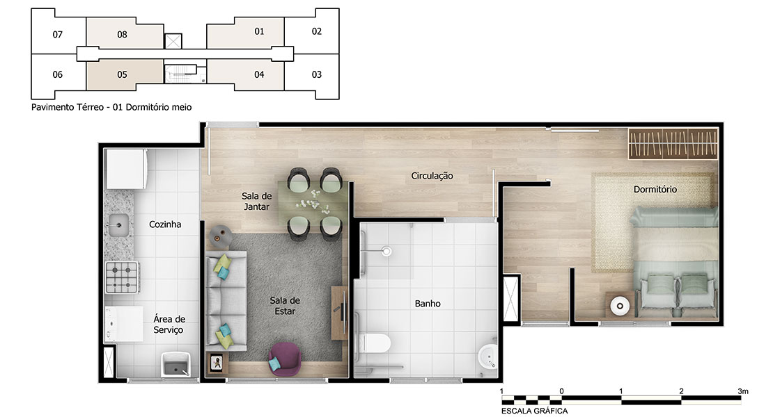 Planta de apartamento em Villaggio do Alto | Salvador | BA | planta 1 | tenda.com
