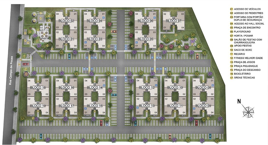 Planta de apartamento em Campo de Pouso Concorde | Paulista | PE | planta 1 | tenda.com