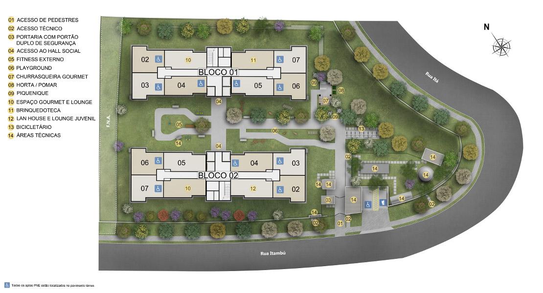 Planta baixa do Águas Claras Apartamento Minha Casa Minha Vida | Tenda.com