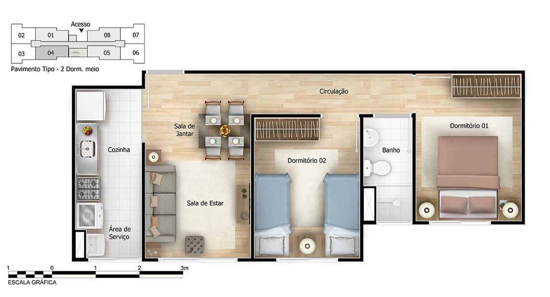 Planta baixa do Austral Apartamento Minha Casa Minha Vida | Tenda.com