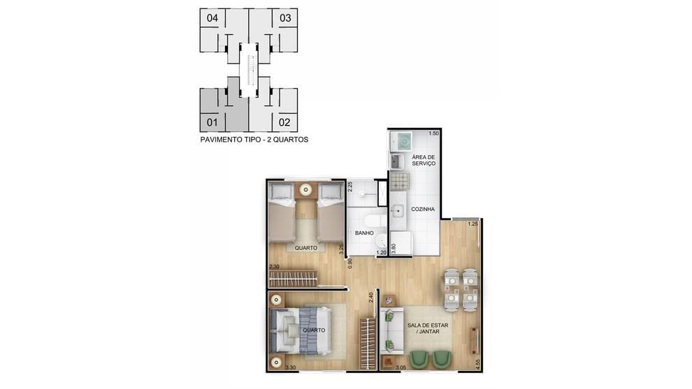 Planta de apartamento em Residencial Querência Gaúcha | Porto Alegre | RS | planta 1 | tenda.com