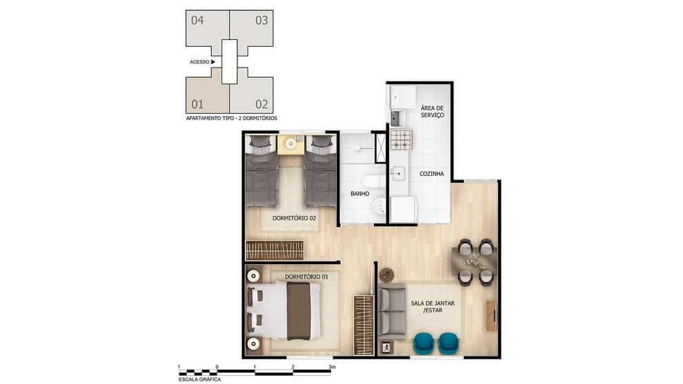 Planta de apartamento em Amoreiras | Suzano | SP | planta 1 | tenda.com