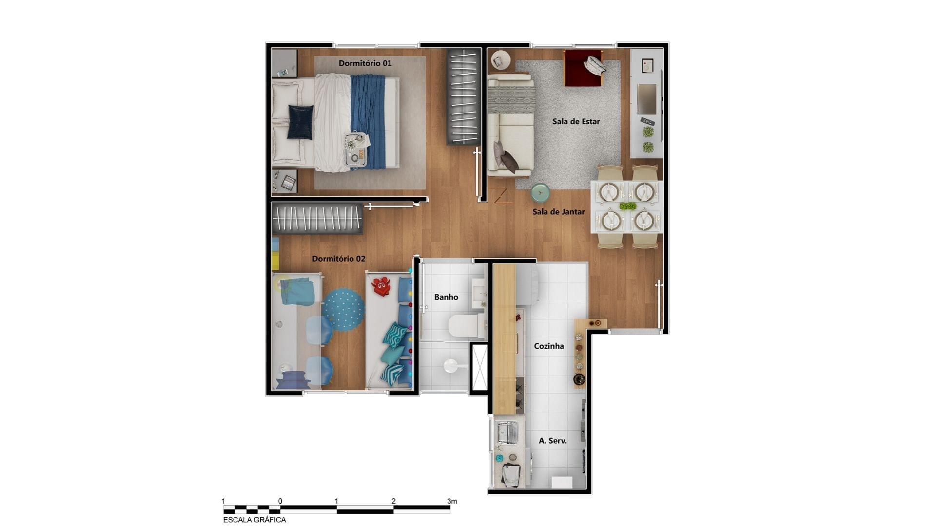 Planta de apartamento em Nova Primavera I | Canoas | RS | planta 1 | tenda.com