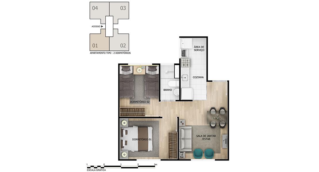 Planta baixa do Turquesa Apartamento Minha Casa Minha Vida   Tenda.com