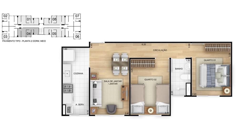 Planta baixa do Reserva das Árvores II Apartamento Minha Casa Minha Vida | Tenda.com