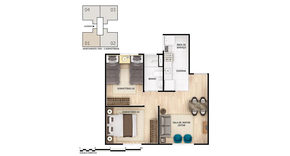 Planta baixa do Marlim Apartamento Minha Casa Minha Vida | Tenda.com
