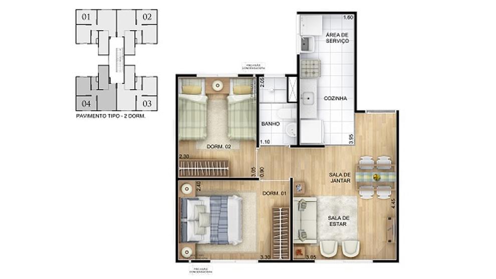 Planta de apartamento em Residencial Verde Vida | SALVADOR | BA | planta 1 | tenda.com