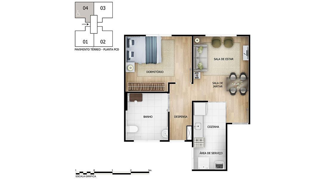 Planta de apartamento em Parque Cerrado I | Goiânia | GO | planta 1 | tenda.com