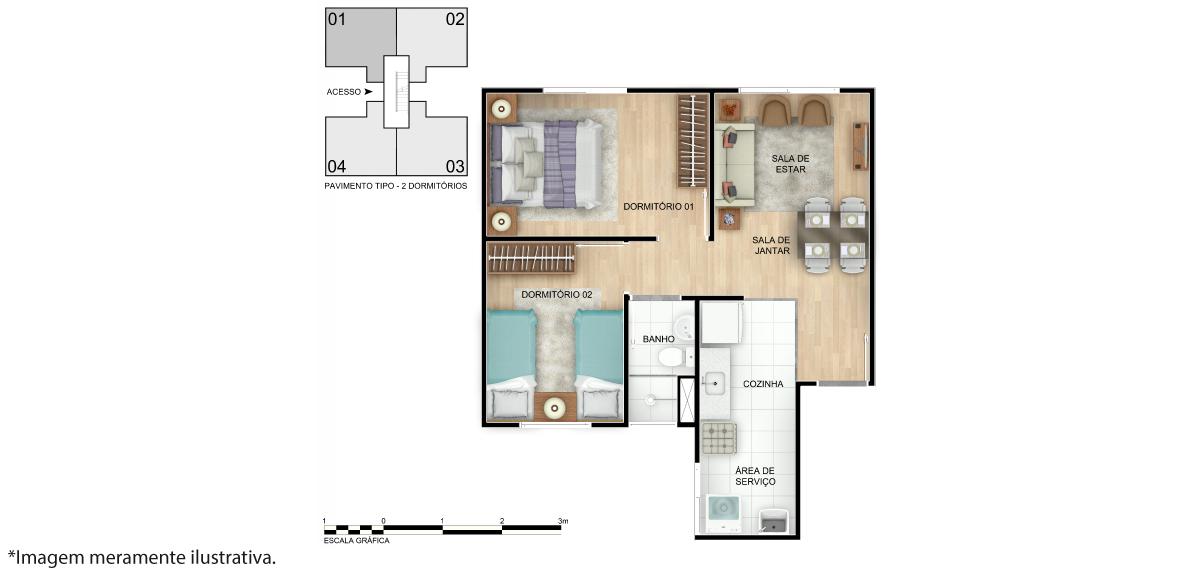 Planta de apartamento em Reserva Premium | Camaçari | BA | planta 1 | tenda.com