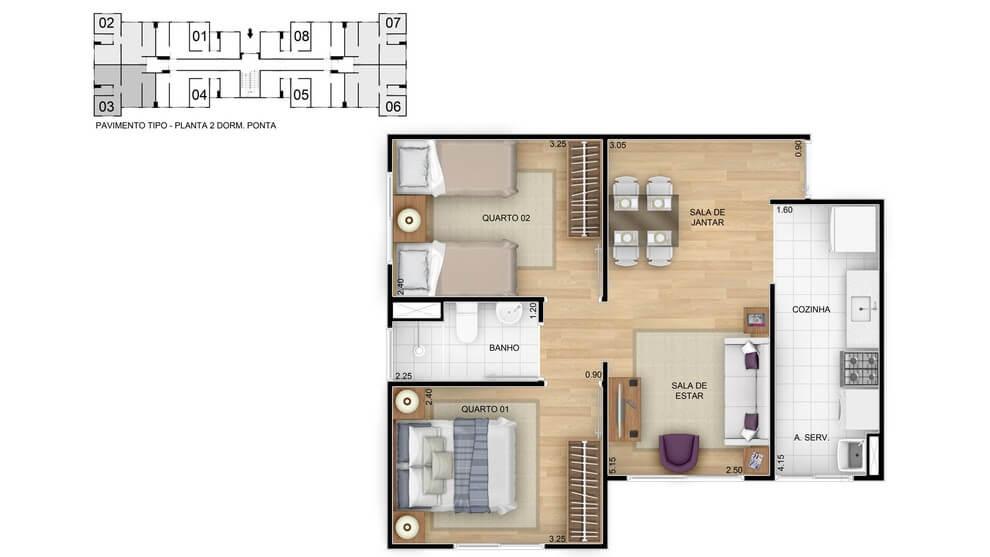 Planta de apartamento em Residencial Vida Leve | Rio de Janeiro | RJ | planta 1 | tenda.com