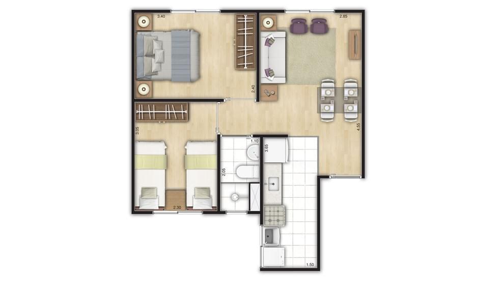 Planta de apartamento em Residencial das Laranjeiras | São Paulo | SP | planta 1 | tenda.com