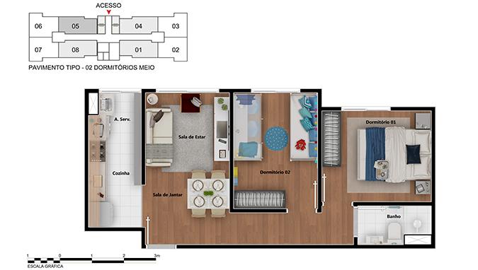 Planta de apartamento em Potiguara | São Paulo | SP | planta 1 | tenda.com