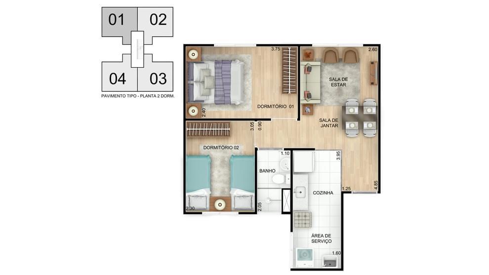 Planta de apartamento em Residencial Alto do Picuaia | Lauro de Freitas | BA | planta 1 | tenda.com