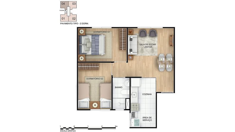 Planta baixa do Recanto da Lagoa Apartamento Minha Casa Minha Vida | Tenda.com
