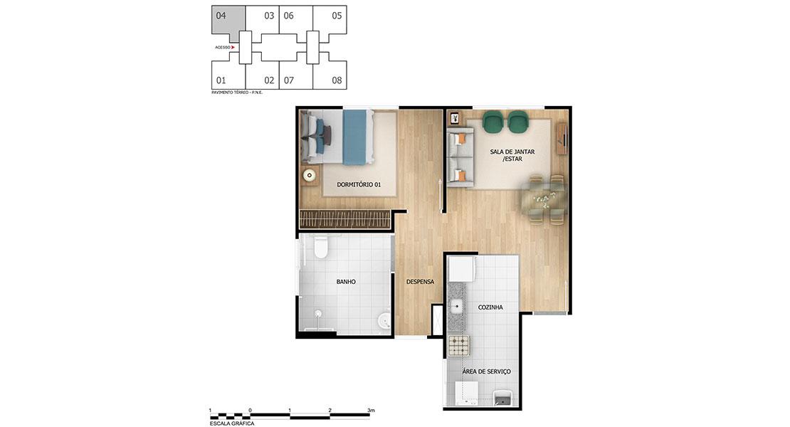 Planta baixa do Recanto do Pontal Apartamento Minha Casa Minha Vida | Tenda.com