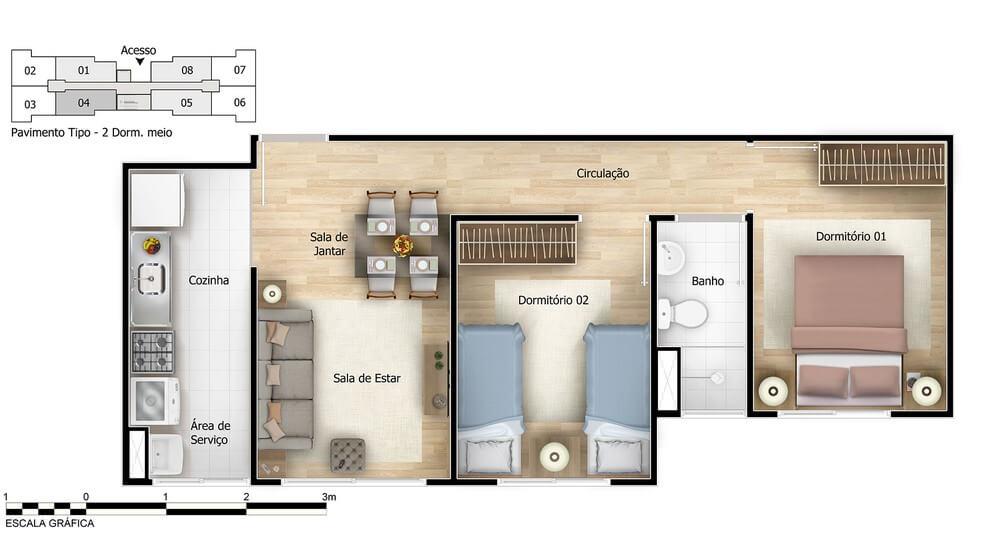 Planta baixa do Rubi Apartamento Minha Casa Minha Vida | Tenda.com